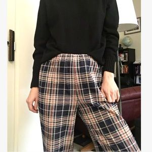 Vintage Plaid Wide-Leg Pants
